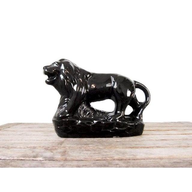 Vintage Black Ceramic Lion Figure - Image 2 of 6
