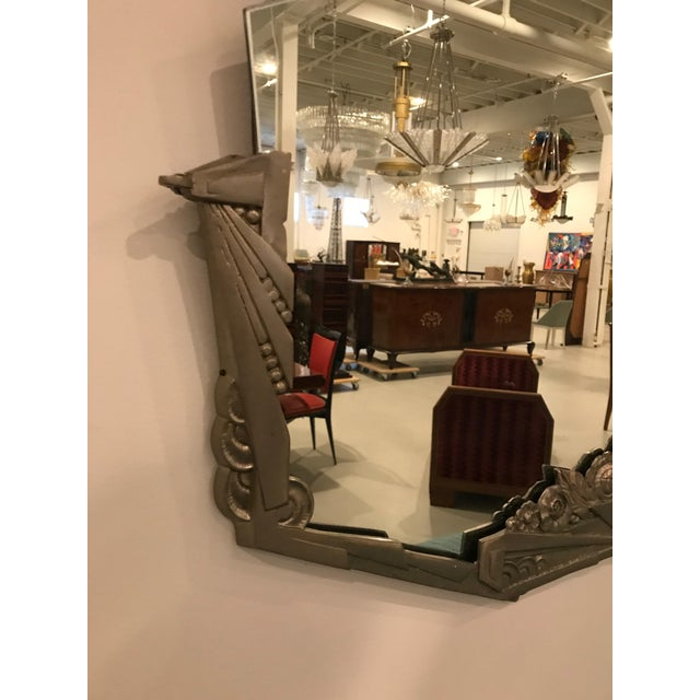 Early 20th Century French Art Deco Geometric and Floral Wall Mirror With Skyscraper Motif For Sale - Image 5 of 10