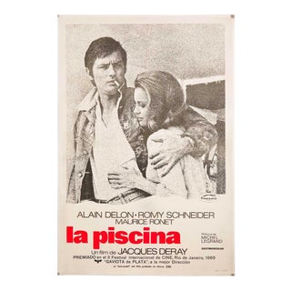 "Original Vintage 1969 ""La Piscine"" Alain Delon & Romy Schneider Film Poster For Sale"