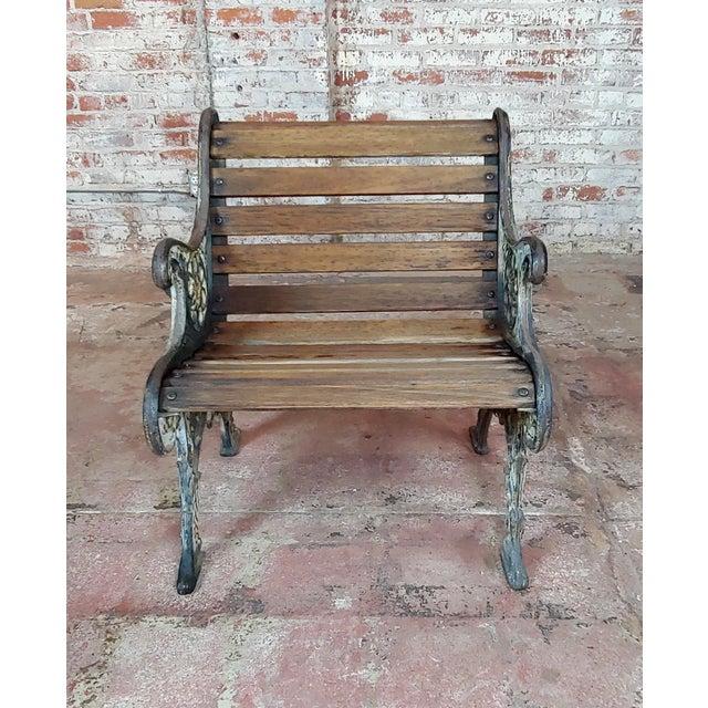 Gray 19th Century Fabulous Cast Iron & Wood Patio / Garden 3 Pieces Set For Sale - Image 8 of 11