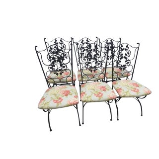 Vintage Mid Century Salterini Style Iron Dining Garden Patio Chairs- Set 6 For Sale