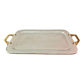 Large Alu & Bronze Tray by D.Marshall For Sale