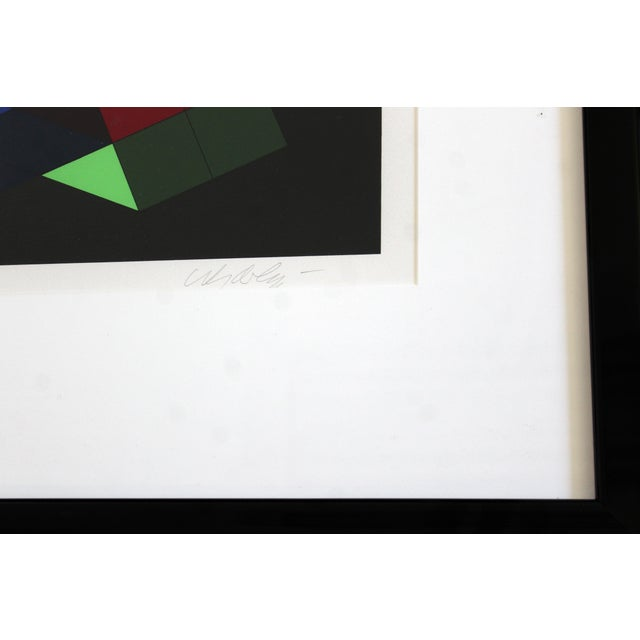 1980s Contemporary Framed Op Art Lithograph Vasarely the Door 23/25 1980 For Sale - Image 5 of 6