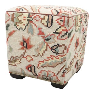 20th Century Cottage Square Floral Mosaic Style Upholstered Ottoman For Sale
