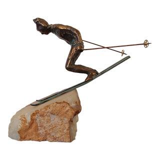 Vintage Curtis Jere Skier Sculpture For Sale