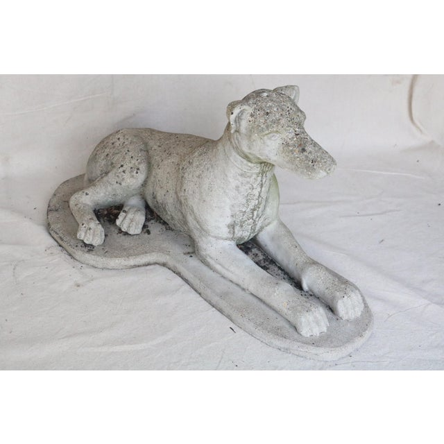 Gray Early 20th Century Reclining Whippet English Cast Stone Garden Ornament For Sale - Image 8 of 8