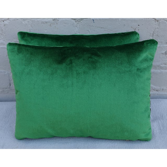 Green Silk Velvet Pillows With Metallic Trim- Pair - Image 3 of 3
