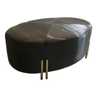 Custom Metallic Brown Upholstered Ottoman