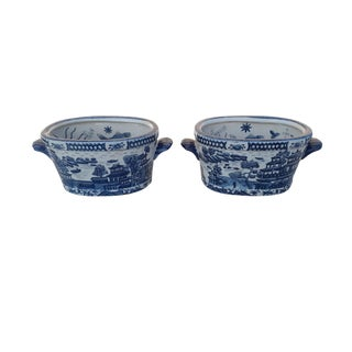 Vintage Pair of Blue & White Chinoiserie Jardinieres Pair Asian Handpainted Cachepots Planters For Sale