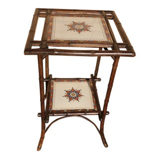 Bamboo Occasional Table With Hand Painted Tile For Sale