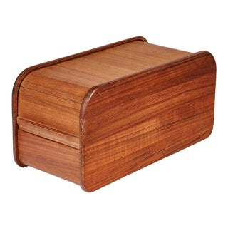 1970s Rectangular Teak Tambour Box