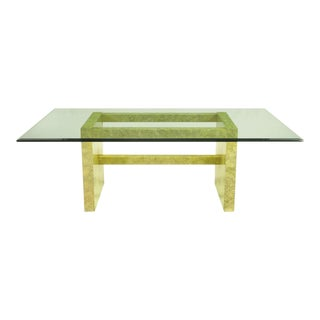 Henredon Circa 75 Glass & Marbleized Base Dining Table