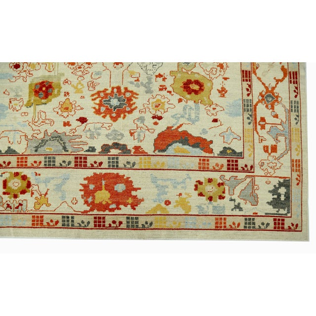 Ivory Turkish Oushak Rug With Red & Yellow Floral Details on Ivory Field For Sale - Image 8 of 10