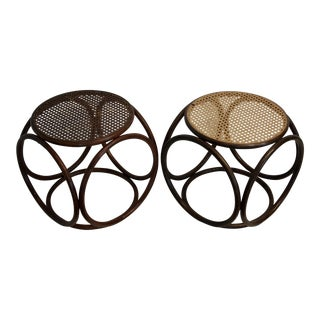 Thonet Style Bentwood & Cane Ottomans, A Pair