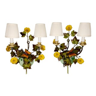 Tóle Butterfly Wall Sconce With Silk Shades - a Pair For Sale