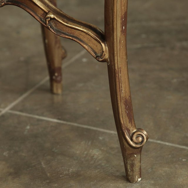19th Century French Giltwood Marble-Top Lamp Table For Sale - Image 10 of 11