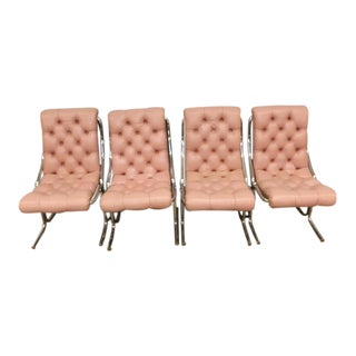 Vintage MCM Pink Tufted Vinyl & Chrome Chairs - Set of 4 For Sale