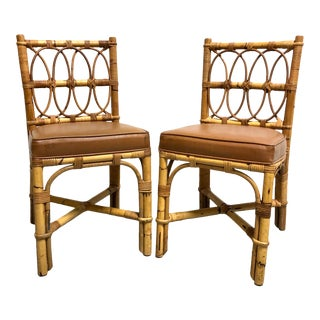 Vintage Ficks Reed Style Bamboo & Rattan Chairs—a Pair For Sale