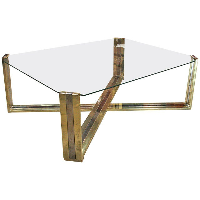 Italian Coffee Table Brass and Steel, 1960s For Sale - Image 9 of 9