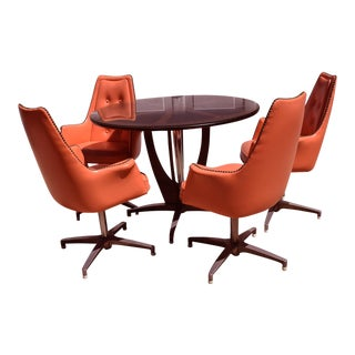 1960s Mid Century Modern Chromcraft Swivel Atomic Orange Dinette Set - 5 Pieces For Sale