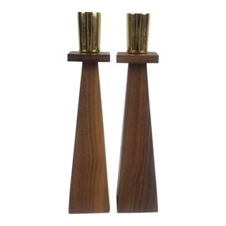 1960s Tapered Walnut Candlesticks - a Pair For Sale