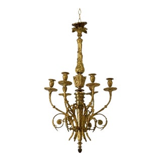 19th Century French Gilded Bronze Six-Arm Chandelier