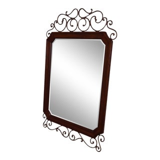 Drexel Heritage Cambridge Cherry & Scrolled Iron Beveled Wall Mirror For Sale