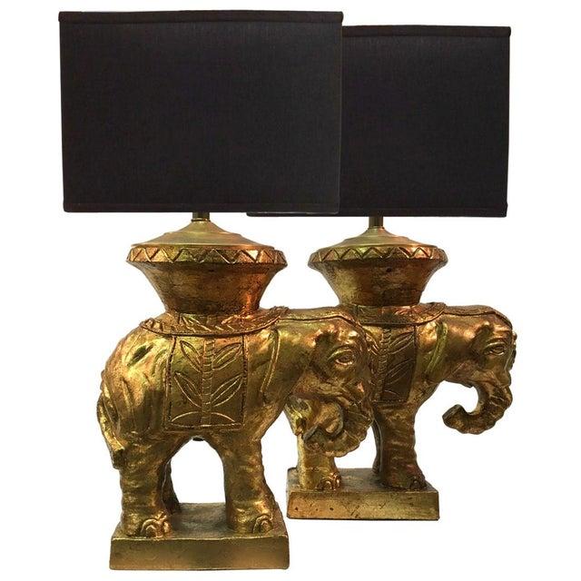 Italian Gilded Ceramic Elephant Lamps - Pair - Image 1 of 8