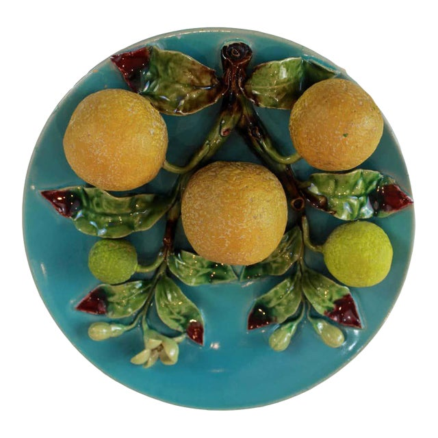 Menton French Majolica Wall Plaque on Turquoise Ground With Oranges, Circa 1880 For Sale