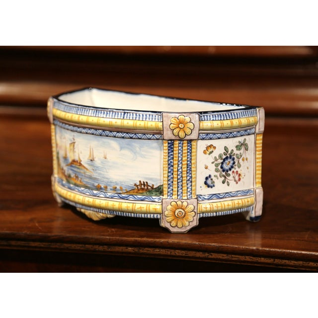 19th Century French Hand-Painted Demilune Jardinière With Sailboats and Flowers For Sale In Dallas - Image 6 of 9