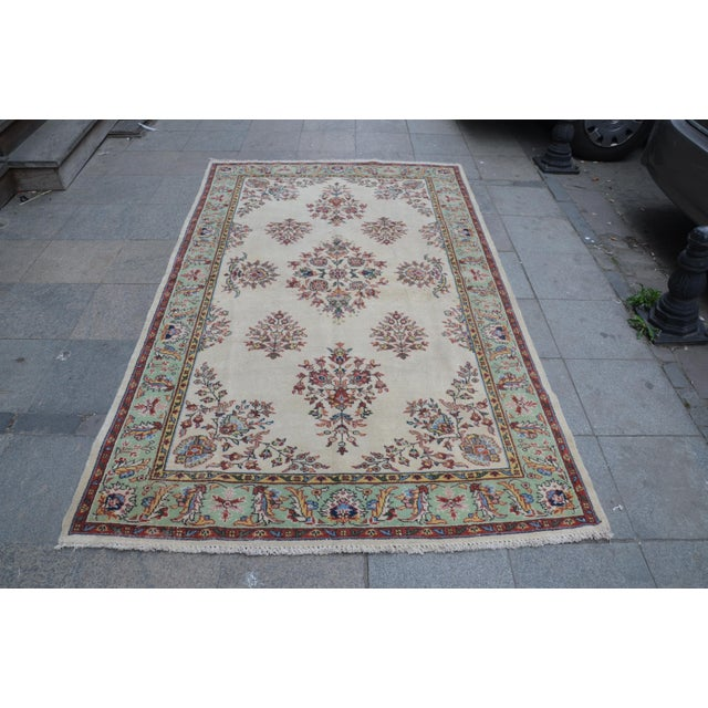 Turkish handwoven vintage Anatolian OUSHAK rug. We collect old vintage antique rugs from Anatolia, which is the east part...