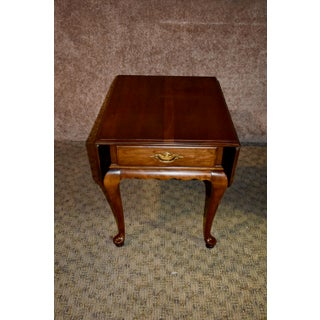 Vintage Queen Anne Ethan Allen Solid Cherry Drop Leaf Side Table Preview