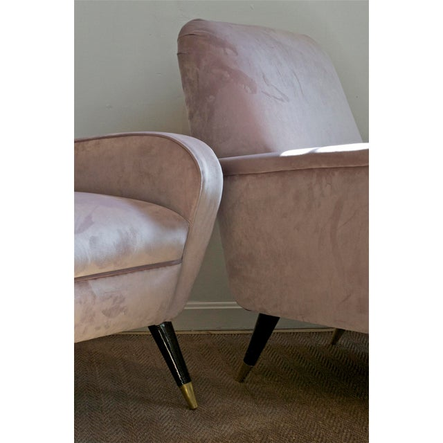 1950s Luxe Lounge Chairs in Lilac For Sale - Image 5 of 11