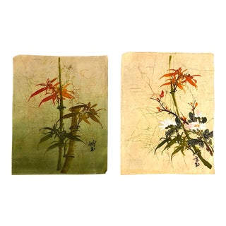 Vintage Asian Linen Hand-Painted Panels, Set of 2 For Sale