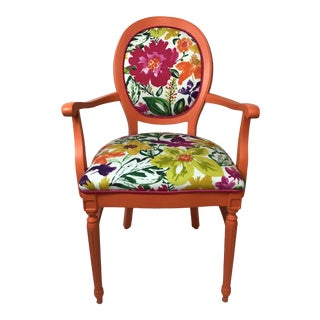 1960s Vintage Arm Chair in Upholstered Coordinating Prints For Sale