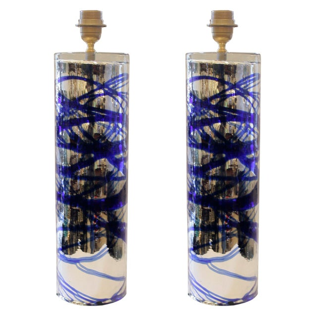 Italian Murano Glass Mirrored Table Lamps - A Pair For Sale - Image 3 of 3