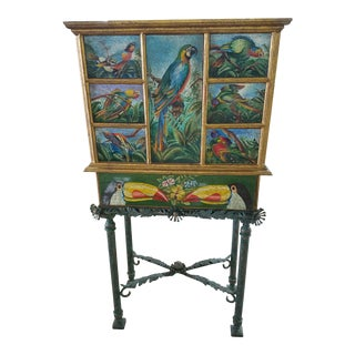 Vintage Tropical Hand Painted Cabinet on Stand Adorned With Parrots For Sale