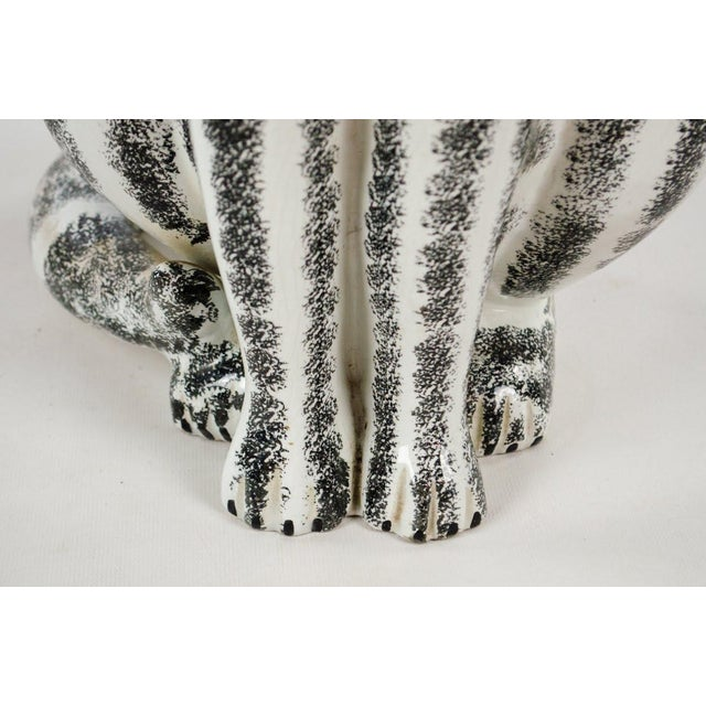 Mid-Century Italian Majolica Tall Ceramic Cat Sculpture For Sale - Image 9 of 13