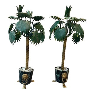 Petite Choses Mid Century Italian Tole Palm Tree Topairies- a Pair For Sale