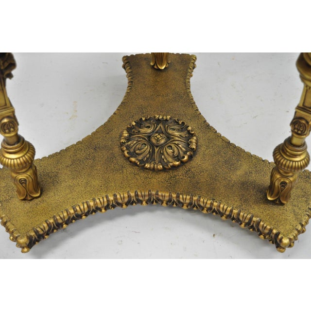 1960s Vintage French Inspired Figural Gold Side Table For Sale - Image 4 of 11