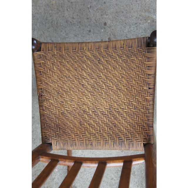 Antique Arts & Crafts Oak & Rattan Rocking Chair For Sale - Image 6 of 9