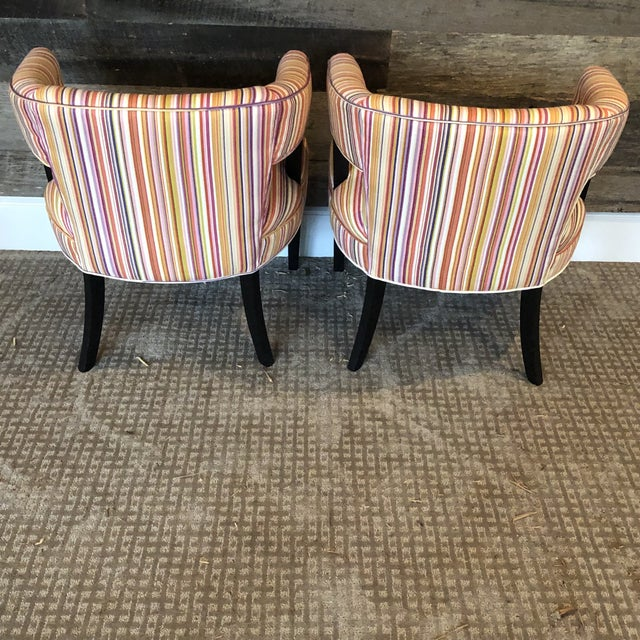 Boho Chic Colorful Striped Barrel Chairs - a Pair For Sale - Image 4 of 11