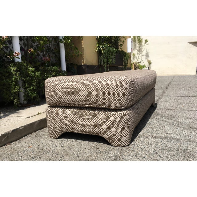 Petite bench, newly upholstered in brown and cream woven fabric. Use as extra seating or as a guest bed. This little...
