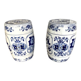 Chinese Ceramic Blue and White Ginger Jar-Patterened Garden Stools - a Pair