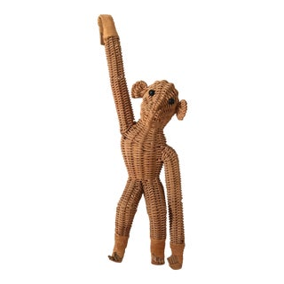 Vintage Wicker Hanging Monkey For Sale