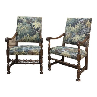Pair 19th Century French Walnut Tapestry Armchairs