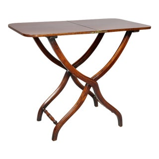 Victorian Mahogany Folding Campaign Table For Sale