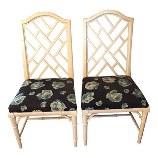 Vintage Century Furniture Chinese Chippendale Chinoiserie Faux Bamboo Chairs- A Pair For Sale