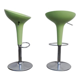 1990s Vintage Original Magis Bombo Green Bar Stools by Stefano Giovannoni- A Pair For Sale