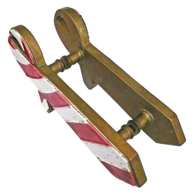 """Pair of French Brass and Ceramic """"Ties"""" Door Pulls For Sale - Image 4 of 5"""
